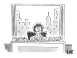An executive sits before a 'Lean In' and 'Lean Out' box. - Cartoon Regular Giclee Print by Christopher Weyant