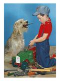 Boy, Dog, and Tools Print