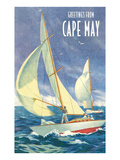 Greetings from Cape May, New Jersey, Sailboats Print