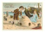 Greetings from Cape May, New Jersey, Children on Beach Prints