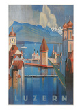 Travel Poster for Lucerne, Switzerland Art