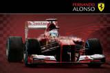 Fernando Alonso Ferrari Formula 1 Car Poster Prints