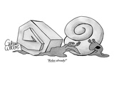 Two snails are talking. One has a smooth round shell and the other has a a… - New Yorker Cartoon Premium Giclee Print by Gahan Wilson