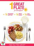 1 Great Plate® for Breakfast Educational Laminated Poster Print