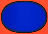 Blauschwarz auf Rot - Oval I Serigraph by Rupprecht Geiger