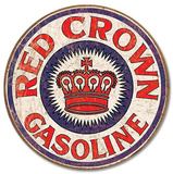 Red Crown Gas Distressed Round Tin Sign Tin Sign
