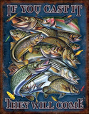 Fishing - If You Cast It They Will Come Distressed Retro Vintage Tin Sign Tin Sign