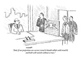 """And, if our projections are correct, trend A should collide with trend B,…"" - New Yorker Cartoon Premium Giclee Print by Robert Mankoff"