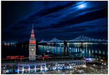 The Bay Lights and a Touch of Red Photo Poster Prints by Mike Dillon