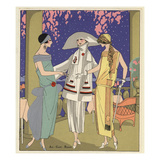 Fashionable Women in Chic Dresses Giclee Print