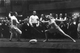 Foil Fencers Politi (Italy) in a Display Fight with Helene Mayer (Offenbach) Photographic Print