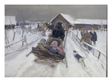 Sledging on Carnival Sunday Giclee Print by Alexei Steipanovitch Stepanov