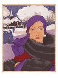Fashionable Woman of 1930 in Winter Giclee Print