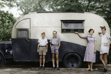 Children with Caravan Photographic Print