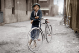 Boy with Bicycle, Smoking a Pipe Stretched Canvas Print