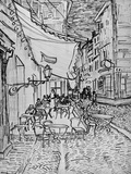 Terrace of the Cafe in the Evening (Night cafe in Arles), Reed Pen Drawing after the Painting, 1888 Reproduction procédé giclée par Vincent van Gogh