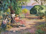 Femme cousant (Woman Sewing) Giclee Print by Henri Lebasque