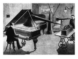 The Sound of a Pianist is Recorded with an Edison-Phonograph, C.1890 Prints