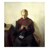 A Young Girl Knitting, Maren Brens, 1887 Gicléetryck av Michael Peter Ancher