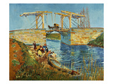 Pont de l'Anglois at Arles with Washer- Women, March 1888 Print by Vincent van Gogh