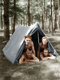 Young Men in a Tent Photographic Print