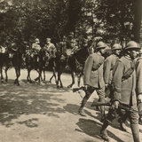 Italian Troops with General Montuore on Horseback in the Parade of Troops Celebrating End of WWI Photographic Print