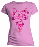 Juniors: One Direction - 1D Logo Heart T-Shirt