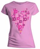 Women's: One Direction - 1D Logo Heart T-Shirts