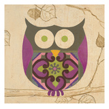Green Boho Owl Prints by Hope Smith