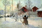 Carl Larsson - The Farmhouse and Washhouse Digitálně vytištěná reprodukce