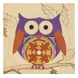 Plum Boho Owl Giclee Print by Hope Smith