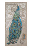 Peacock on Linen 1 Giclee Print by Chad Barrett