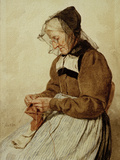 Alte Frau strickend (Old Woman Knitting) Giclee Print by Albert Anker