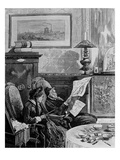 Lui, Avait Pris un Journal; Elle, Tricotait Giclee Print by Jules Ferat