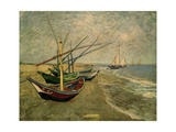 Fishing Boats on the Beach at Saintes-Marie-de-la-Mer, around June 5, 1888 Giclee Print by Vincent van Gogh