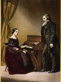 Robert and Clara Schumann, C.1850 Giclée-tryk