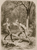 Comment deux amis deviennent ennemis (Duel between Philippe de Taverney and Charny) Giclee Print by Félix Philippoteaux