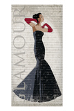 Black Dress Glamour Giclee Print by Sandra Smith