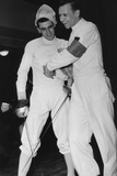 Fencing Bout in Bonn, November 26, 1950 Stretched Canvas Print
