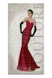 Red Dress Glamour Giclee Print by Sandra Smith