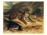 "Deux Tigres Dans Leur Antre Près d'un Cheval Mort"" (Two Tigers and a Dead Horse Before a Cave) Prints by Eugene Delacroix"