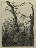 The Woman with the Cobweb Between Bare Trees Giclee Print by Caspar David Friedrich