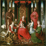 St. Mary with the Child and the Saints John the Baptist, John the Evangelist, Catherine, Barbara Prints by Hans Memling