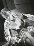Glassblower at Steuben Glass Works, USA Photographic Print