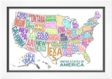 United States of America Stylized Text Map Colorful Photo