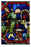 Baker loading an oven, Stained Glass, Bourges Cathedral, Boruges, France Giclee Print