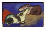 Two Sleeping Rabbits, 1913 Premium Giclee Print by Franz Marc