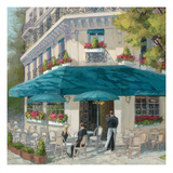 French Blue Café 1 Print by Jill Schultz McGannon