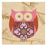 Pink Boho Owl Prints by Hope Smith