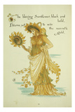 The Blazing Sunflower, Black and Bold, Burns Yet (...), 1889 Giclee Print by Walter Crane